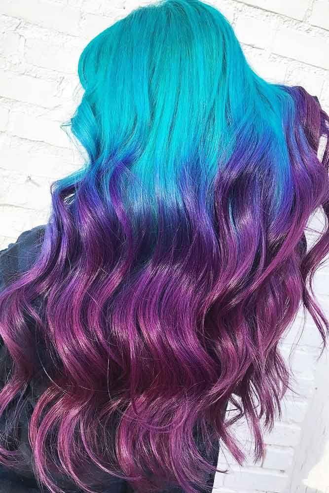 Cool Purple Ombre Shades Blue Hair #longhair #wavyhair #bluehair #ombre ❤️ P...
