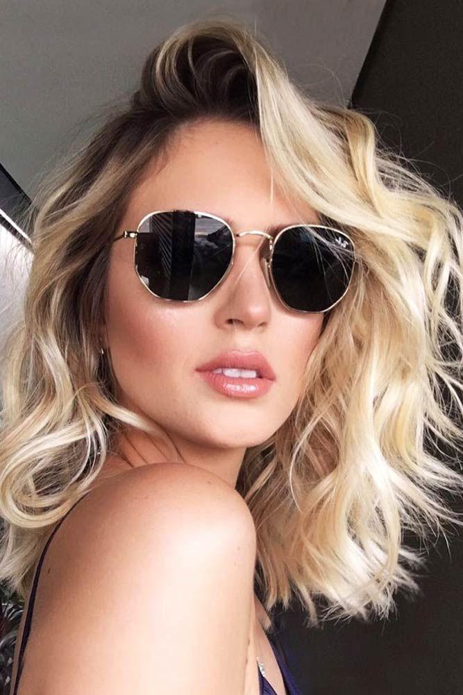 Creamy Blonde Hair With Dark Roots #wavyhair #blondehair #longbob ❤️ Summer ...