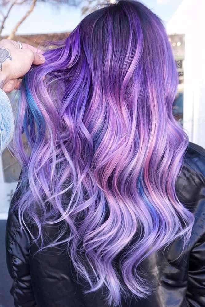 Lavender Purple Hair Color Highlights #longhair #wavyhair #highlights ❤️ Pur...