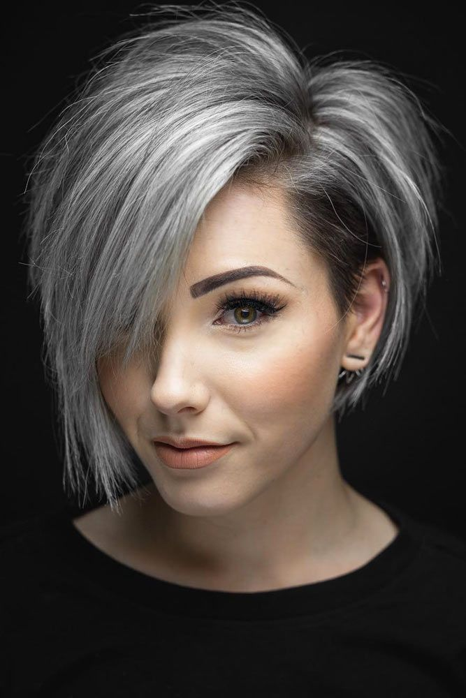 Silver Short Bob With Side Bangs. Are you looking for the most flattering short ...