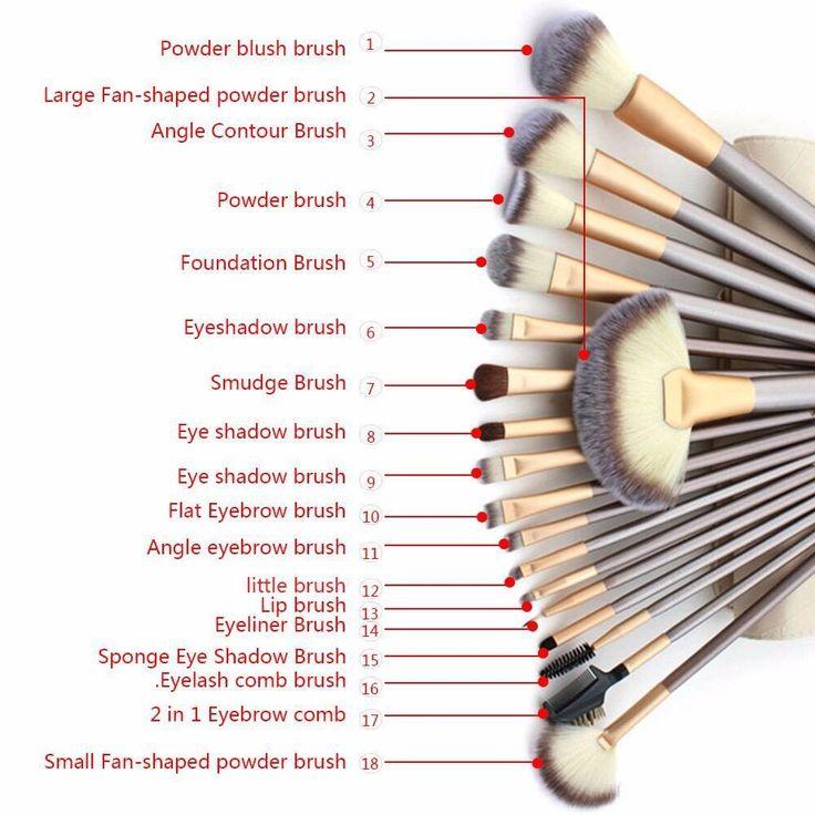 18 Pcs. Professional Cosmetics Foundation Makeup Brush Powder Eye Liner Brush - ...