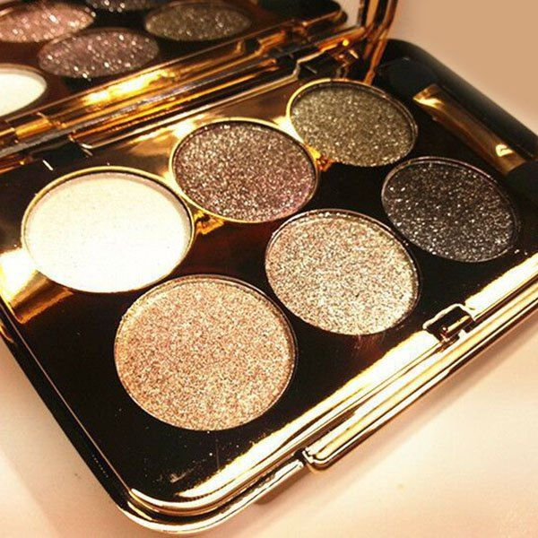 $5.51 Cosmetic 6 Colours Diamond Eyeshadow Palette with Mirror and Brush