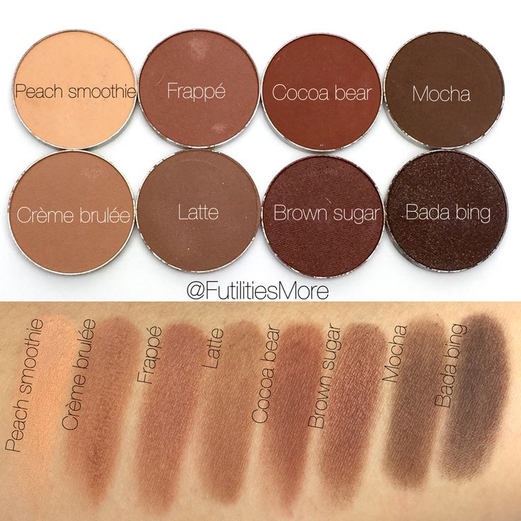 Makeup geek eyeshadow swatches. Peach smoothie, Crème brulée, frappé, latte, ...