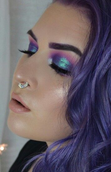 Mermaid makeup, blue/pink/purple iridescent
