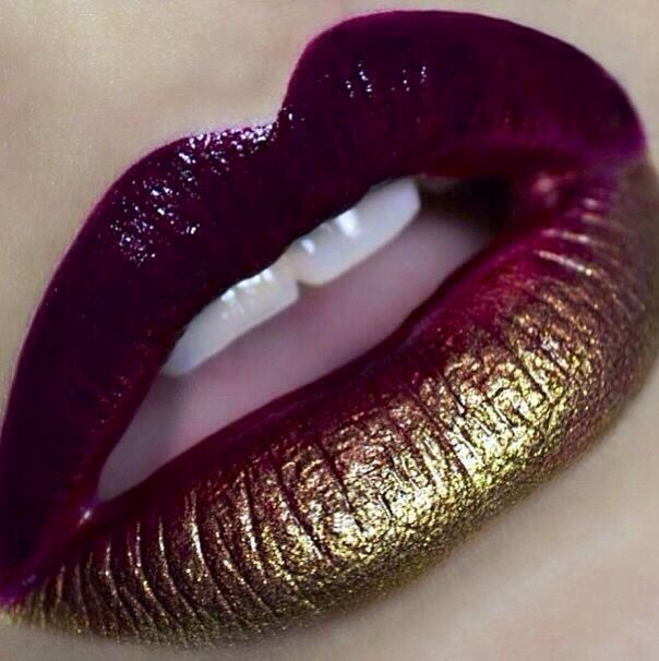 Plum and gold ombre Lips! I love the metallic!                                  ...