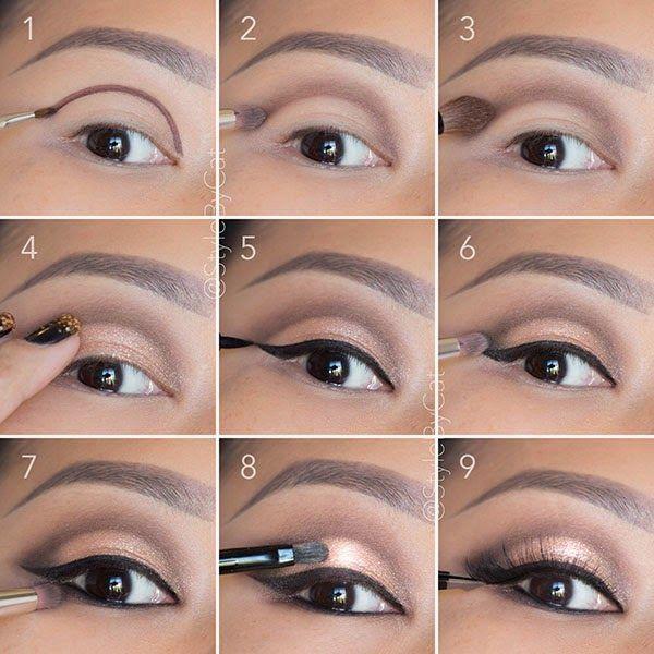 Soft, rose gold, smokey eye tutorial. Good for hooded eyelids or monolids on Asi...