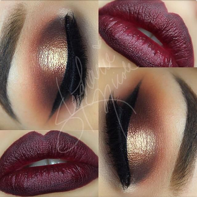 Stunning look for fall by muastephnicole. MAC Nightmoth Lipliner with MAC Instig...