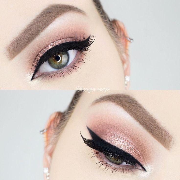 rose gold eye w/ black winged liner (substitute w/ grey or brown for everyday) i...