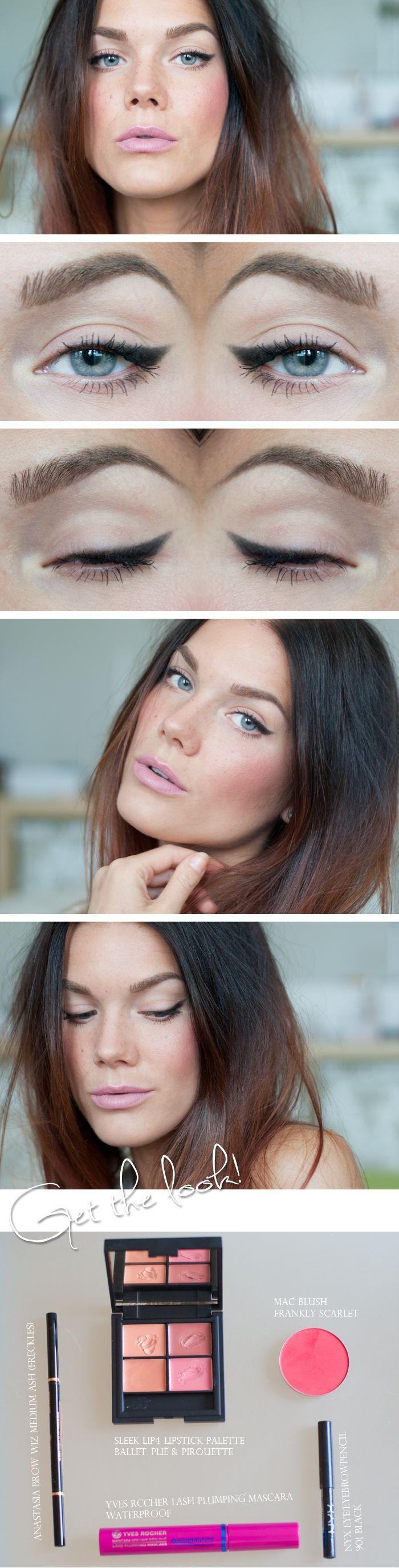 soft cat eye + rosy cheeks + pastel lip