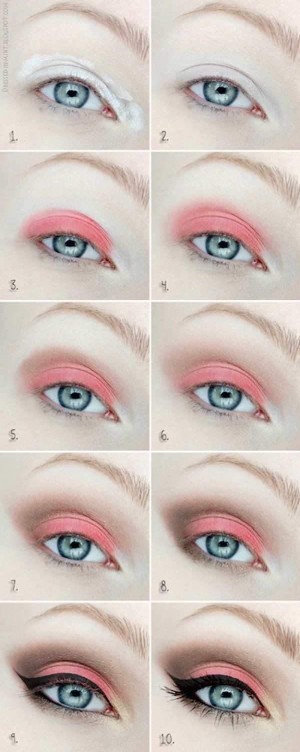 Cute Coral Eyeshadow Tutorial For Beginners | 12 Colorful Eyeshadow Tutorials Fo...