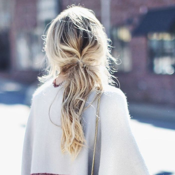 Don't-care hair with blond highlights