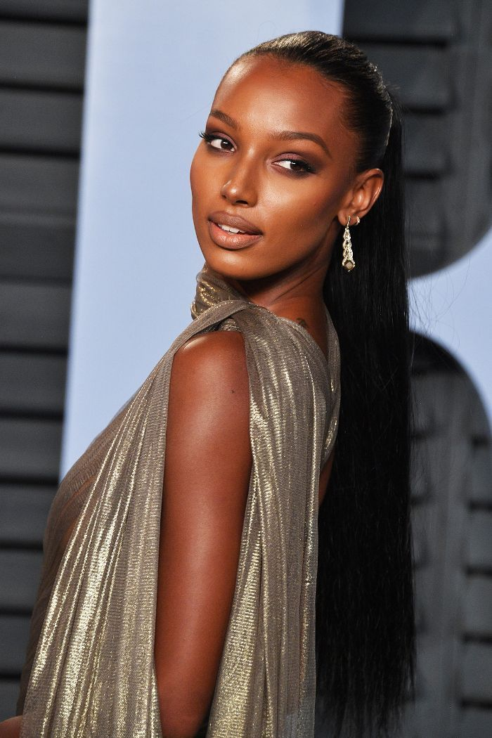 Jasmine Tookes Slicked-Back Ponytail