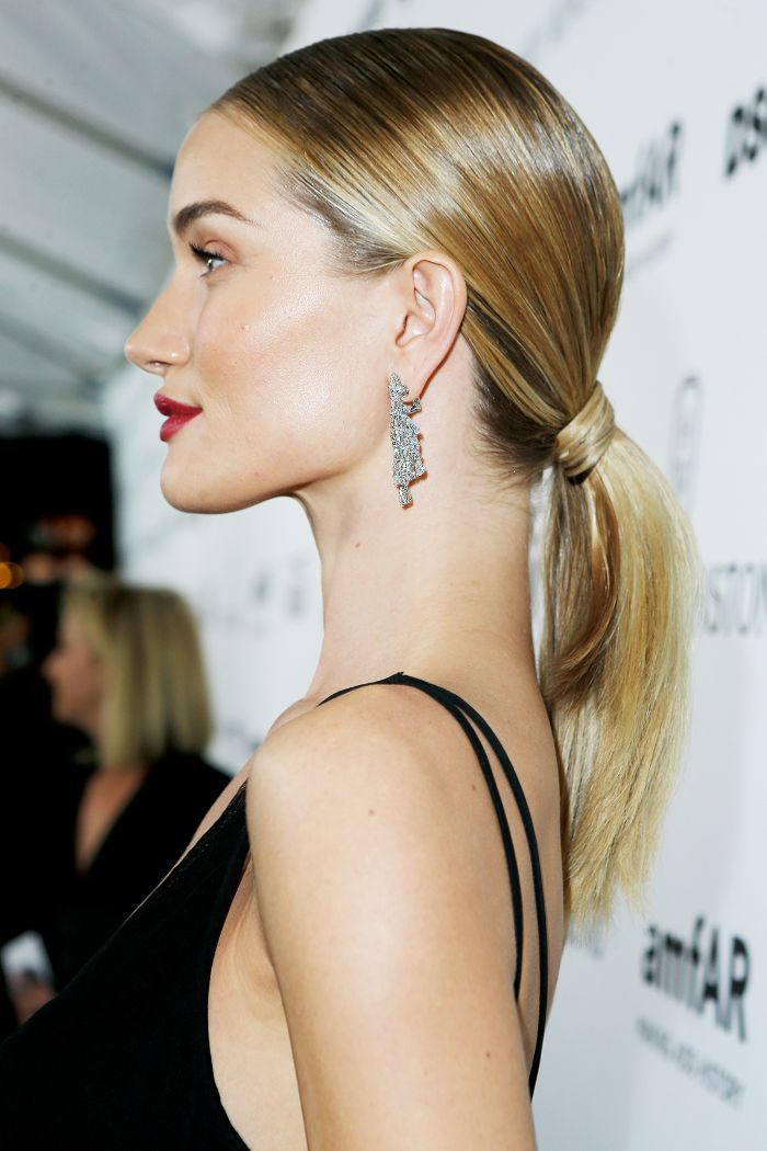 Rosie Huntington-Whiteley Slicked-Back Ponytail