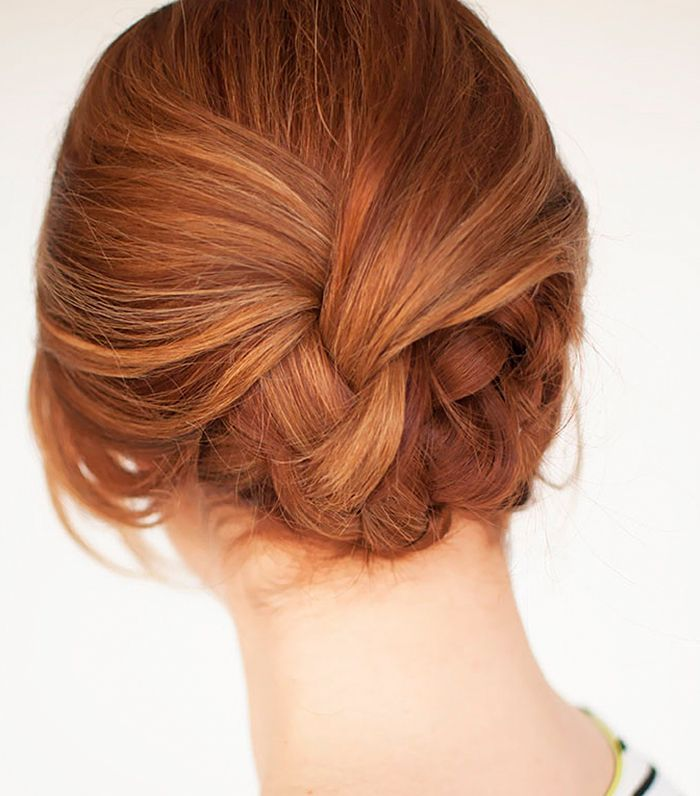 The plaited updo works for both long and short hair.
