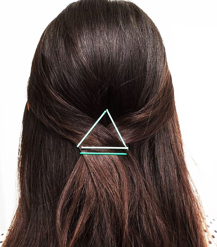 Use bobby pins to make a geometric shape to hold your hair back