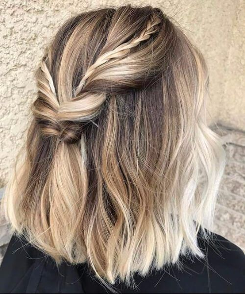 braids + twists | festival hairstyles for short hair | lob style half up half do...