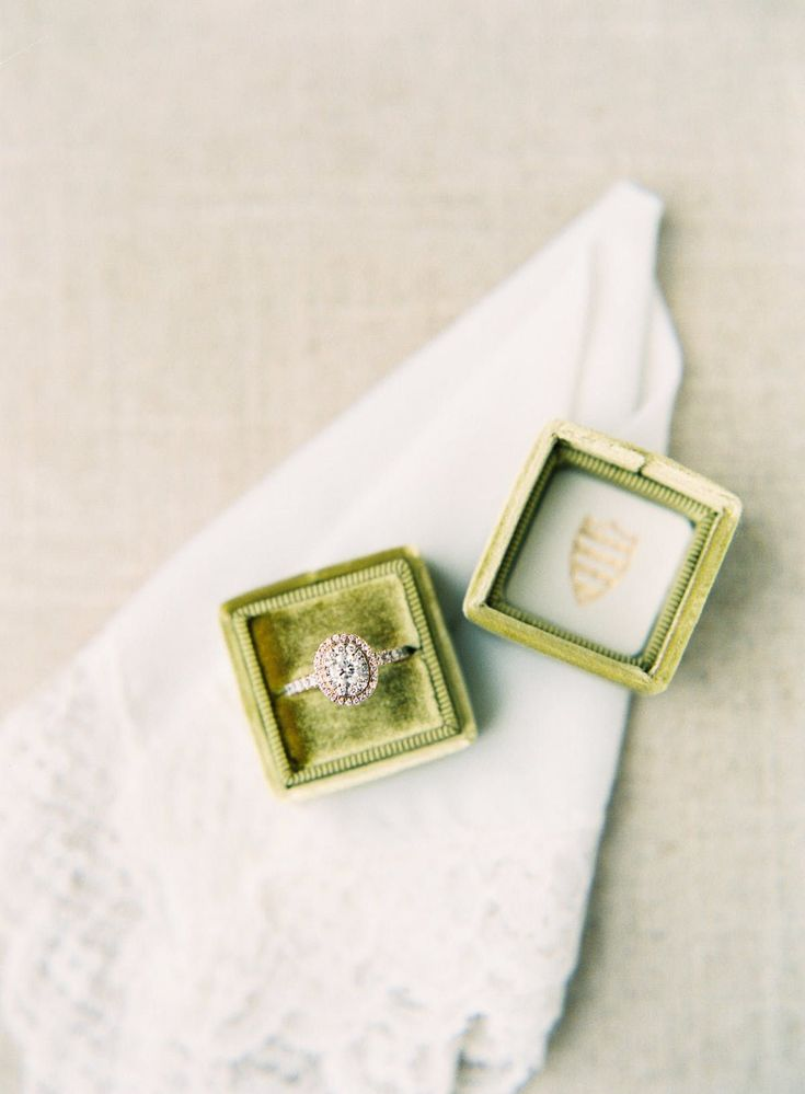 Mrs. Box with a vintage ring tucked inside.     LINENS La Tavola Linen | CAKE @w...