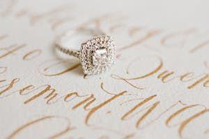 Square #engagementring | Photography: Jemma Keech | Floral Design: Myrtle et Oli...