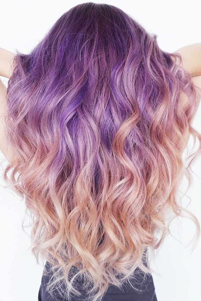 Cool Purple Ombre Shades Rose Gold #longhair #ombre #rosegoldhair ❤️ Purple ...