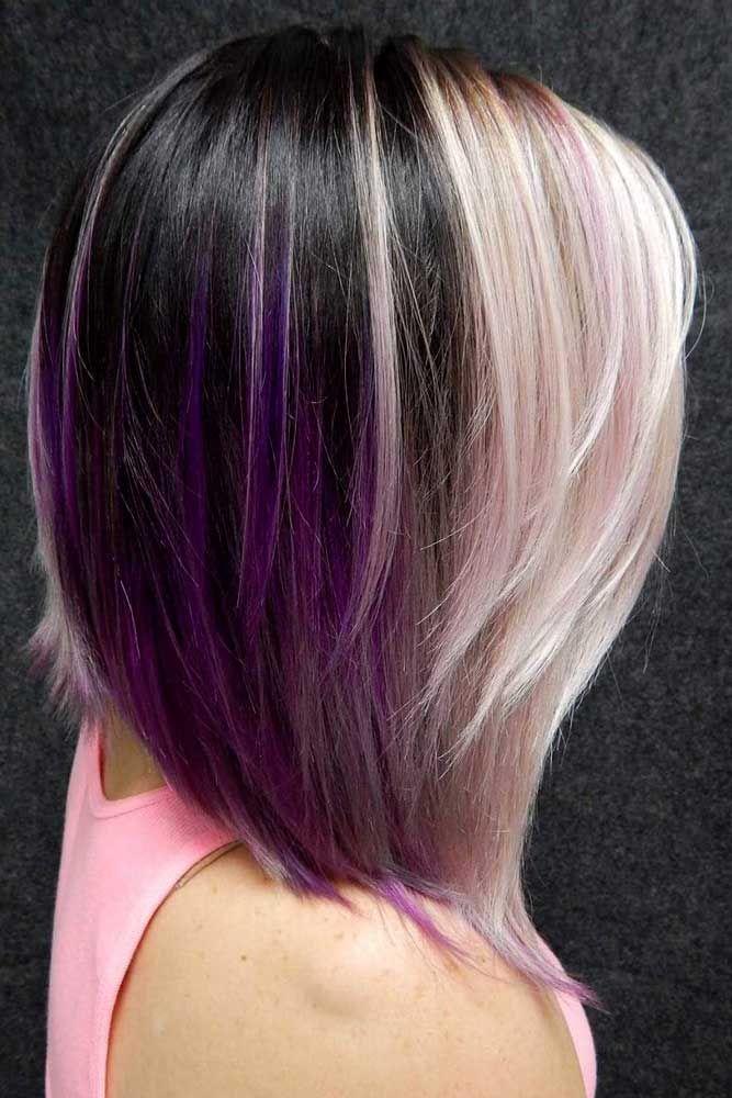 Dark And Light Contrasts Never Fail #purplehighlights #highlights #haircolor #st...