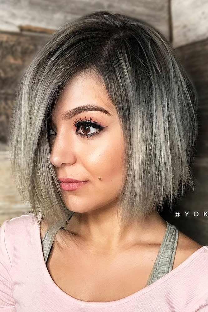 Inverted Bob Haircut With Silver Balayage.  Are you looking for the most flatter...