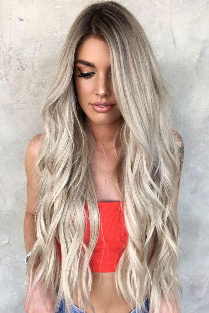 Long Platinum Blonde Hair Layered #longhair #platinumblonde #wavyhair ❤️ Pla...