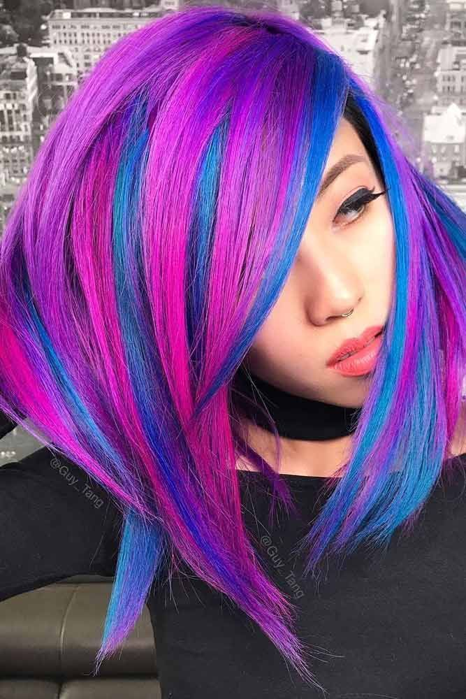 Neon Highlights To Shine Brighter Than Stars #purplehighlights #highlights #hair...