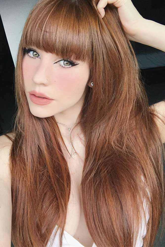Pale Auburn Hair Color #redhair #bangs #longhair ❤️ Discover the red hair co...