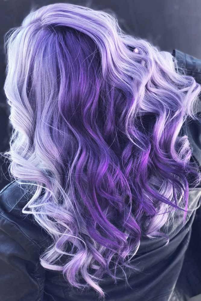 Purple And Lavender Ombre Hair #longhair #wavyhair #purplehair ❤️ Dark purpl...