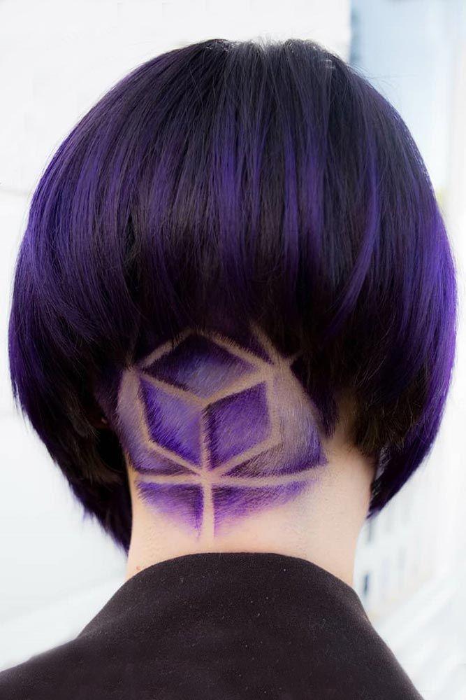 Purple Colored Geometric Undercut #shorthair #undercut #purplrhair ❤️ Dark p...