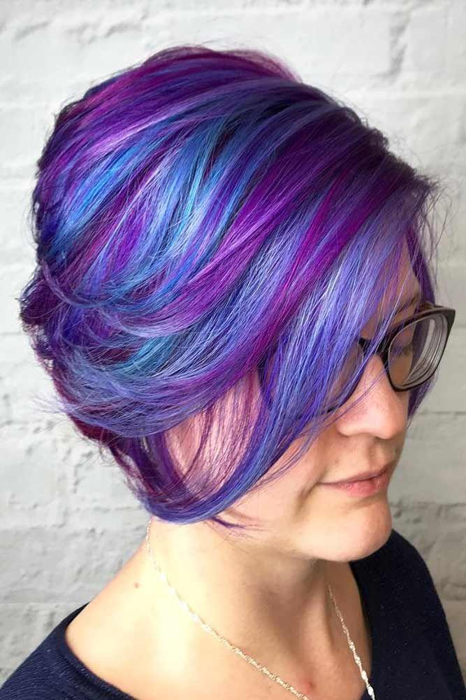 Hair Color 2017 2018 Purple Highlights For Short Hair