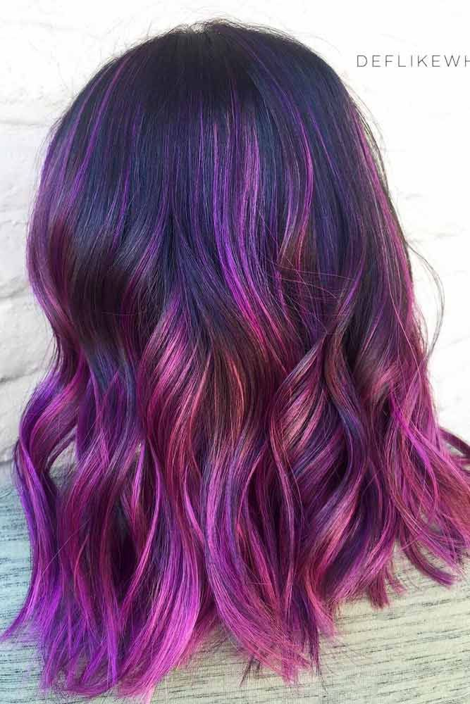 Purple To Rose Highlights On Dark Hair #purplehighlights #highlights #haircolor ...