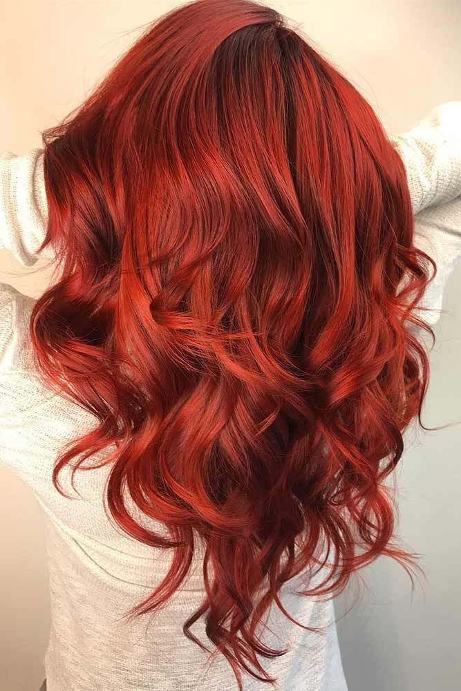 Saturated Ruby Red Hair Color #redhair #wavyhair #longhair ❤️ Discover the r...
