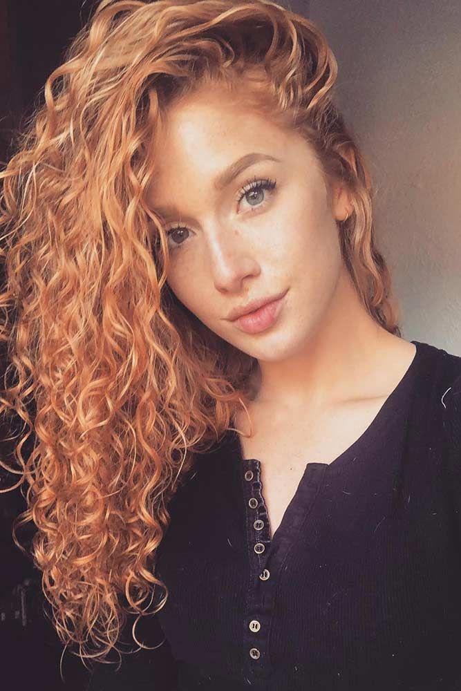 Strawberry Blonde Balayage #strawberryblonde #curlyhair #copperblonde ❤️ Her...