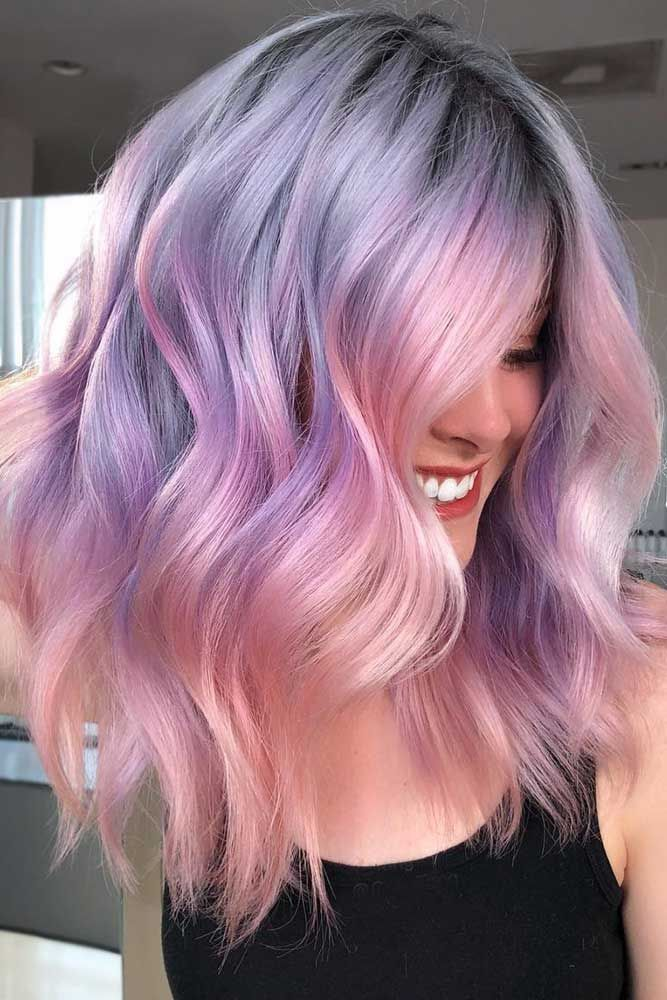 Two-Toned Hair Color Trend #longbob #wavyhair #rosegoldhair #purplehair ❤️ D...