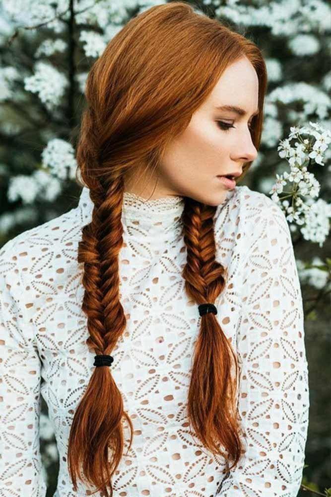Warm Red Color Ideas Double Braids #braids #redhair #longhair  ❤️ We've fo...