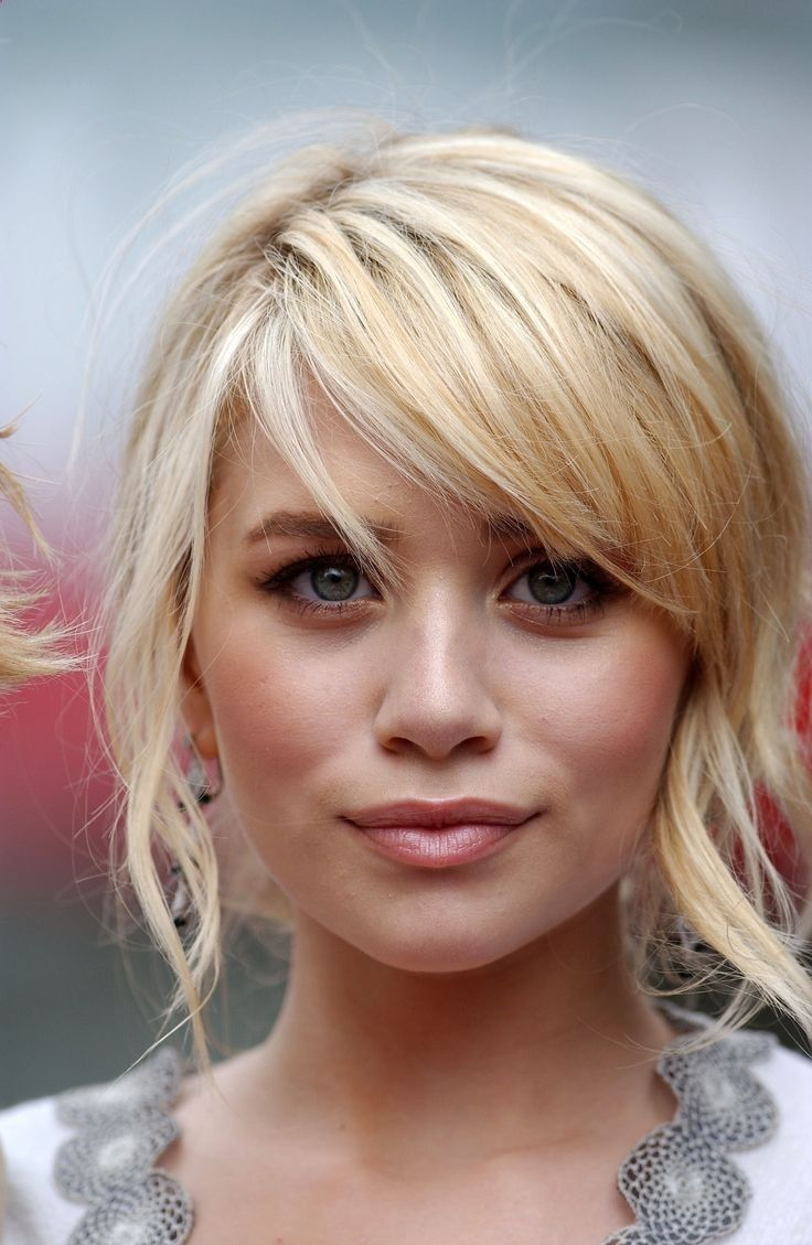side swept blonde bangs