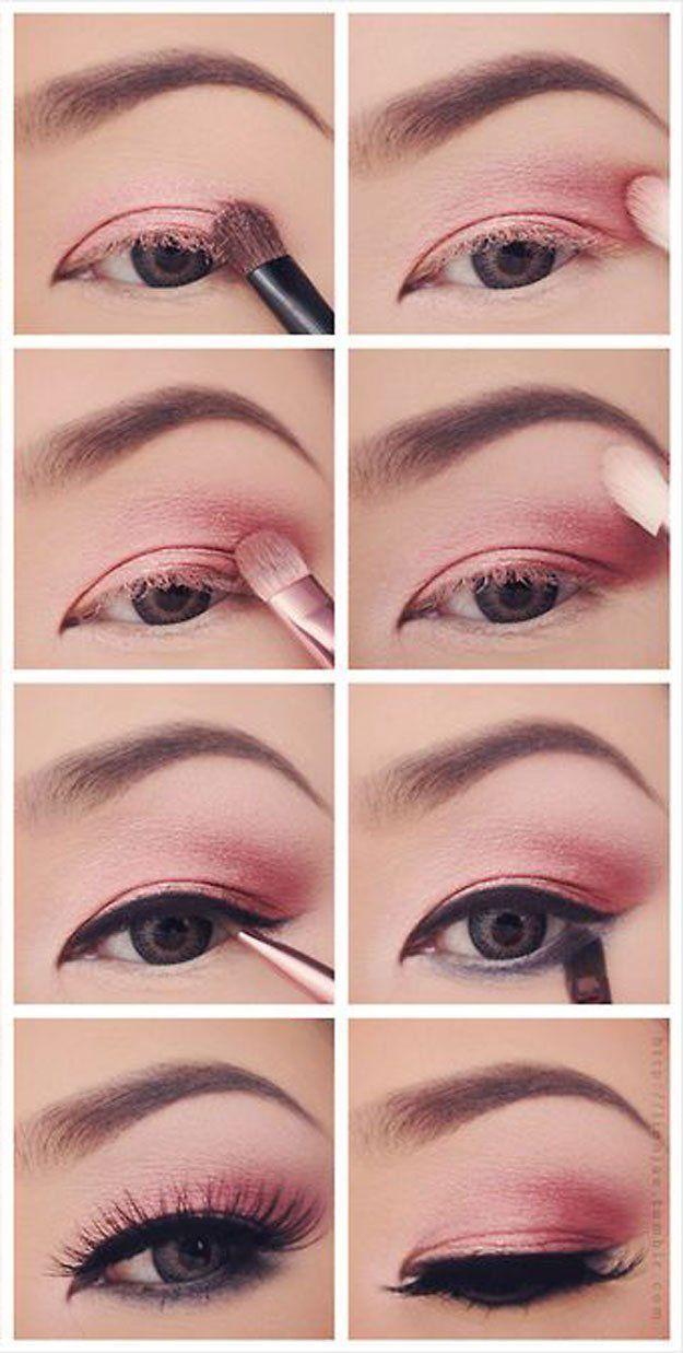 9 Pretty Pink Eyeshadow Tutorials | 12 Colorful Eyeshadow Tutorials For Beginner...