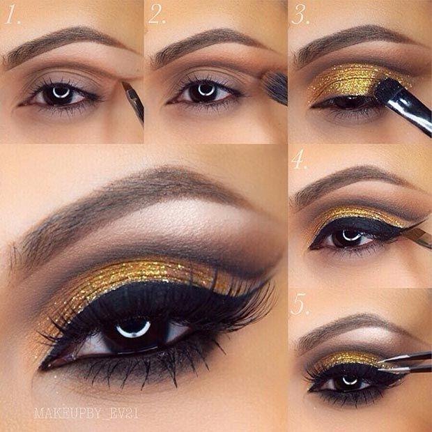 Cut Crease + Gold Glitter Eye Makeup Look Pictorial