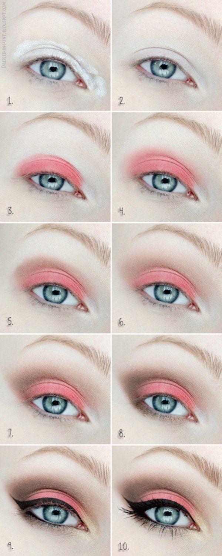 Cute Coral Eyeshadow Tutorial For Beginners | 12 Colorful Eyeshadow Tutorials Fo...
