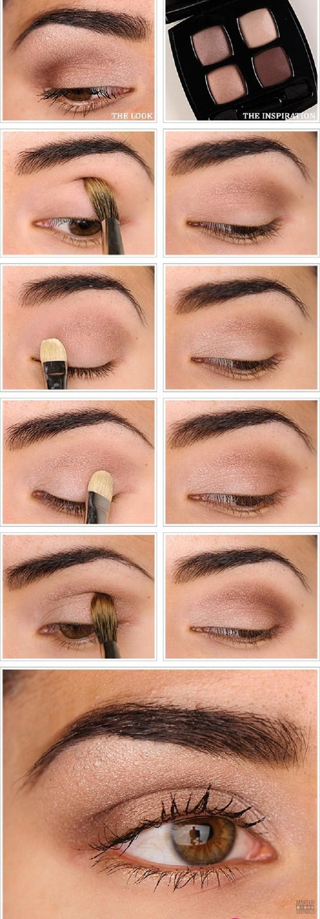 Eyeshadow Tutorials: Everyday Makeup. DIY tutorial for natural look, perfect mak...