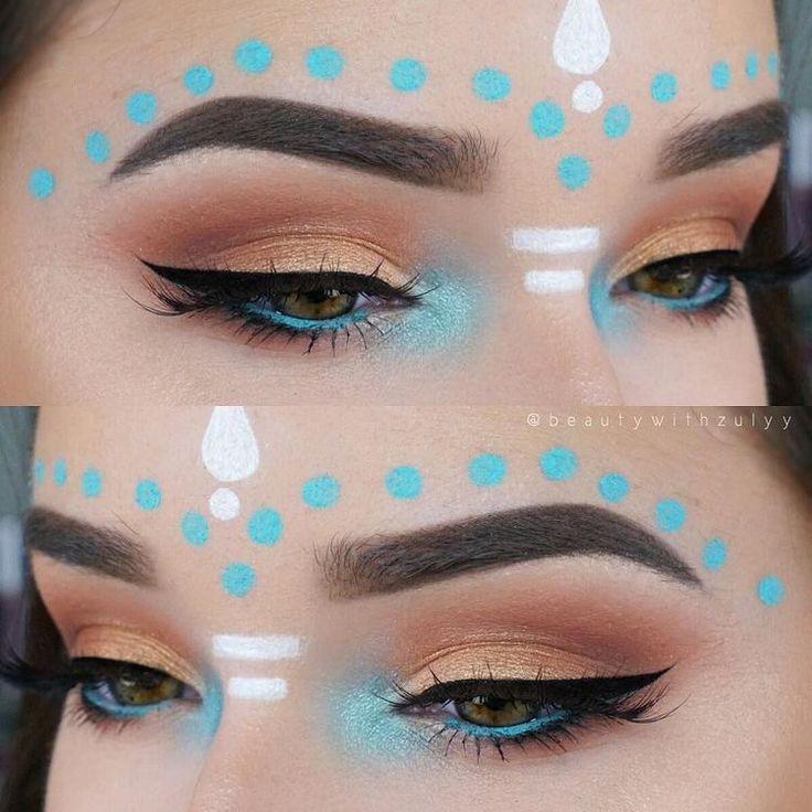 Festival makeup, contrasting colours