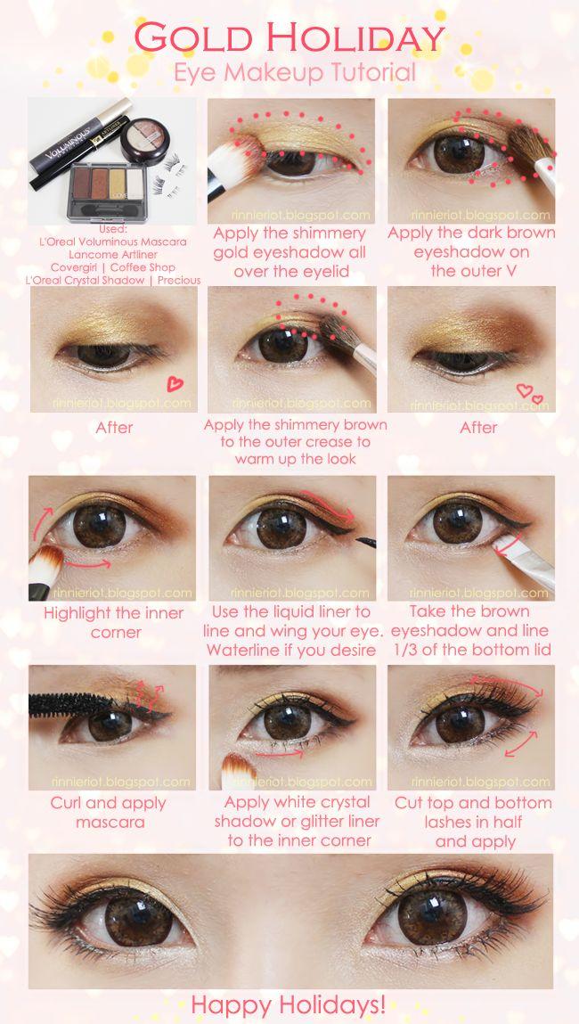 Gold Holiday Eye Makeup Tutorial   nerium.kr/...  www.AsianSkincare.Rocks