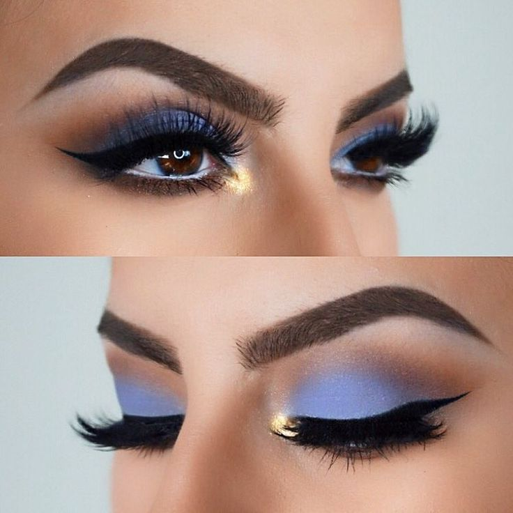 Gorgeous blue shadow look by IG @ izzyglam! Use NYX Cosmetics Nude Matte Shadow ...
