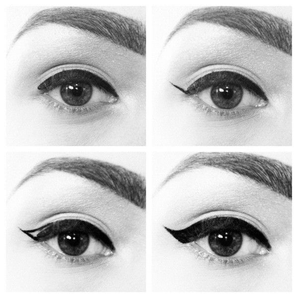 How To: Audrey Hepburn Cat Eye Eyeliner.. if you put a bright colored shadow ove...