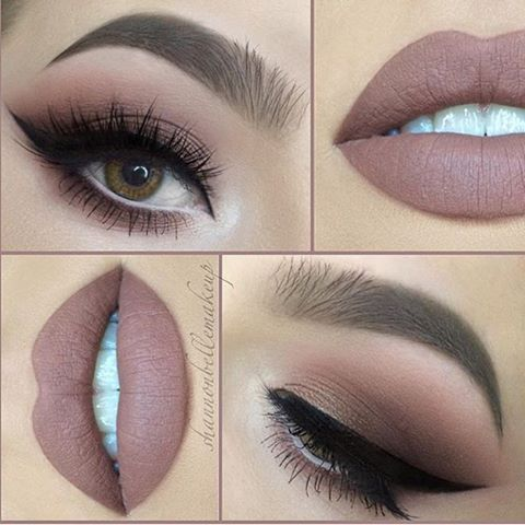 Nicely nude by gorgeous @shannonbellemakeup & beautifully peachy, taupe smokes  ...
