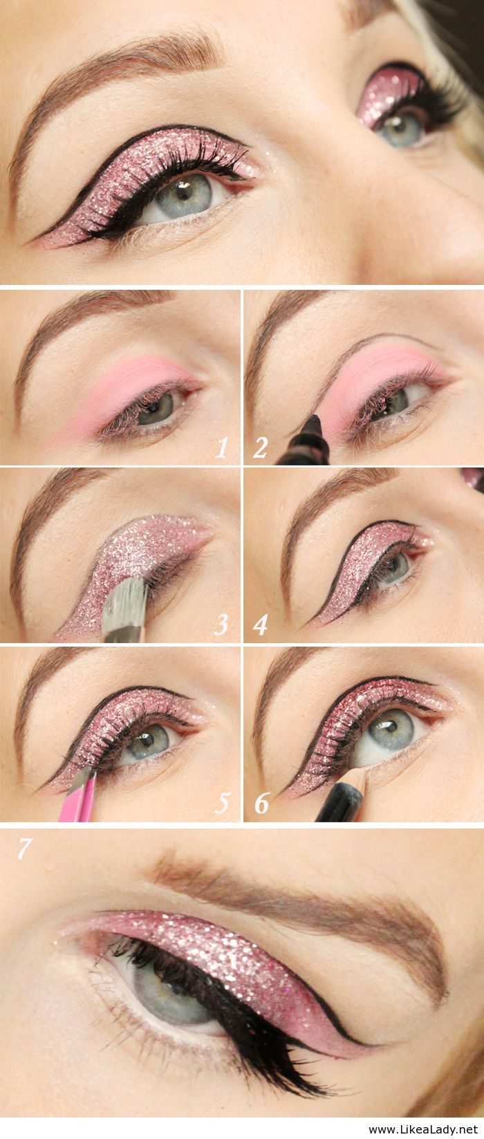 Pink glitter eye makeup tutorial ... Nice :)