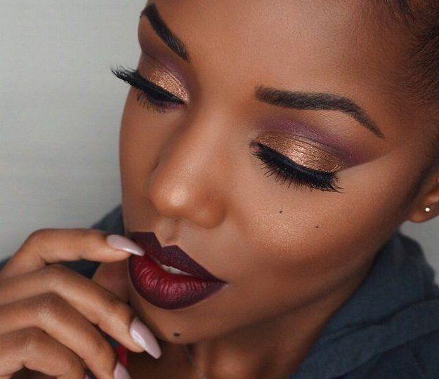 Plum & Caramel Eyeshadow | Eye Makeup Ideas | Everyday Makeup Look For Dark Skin...