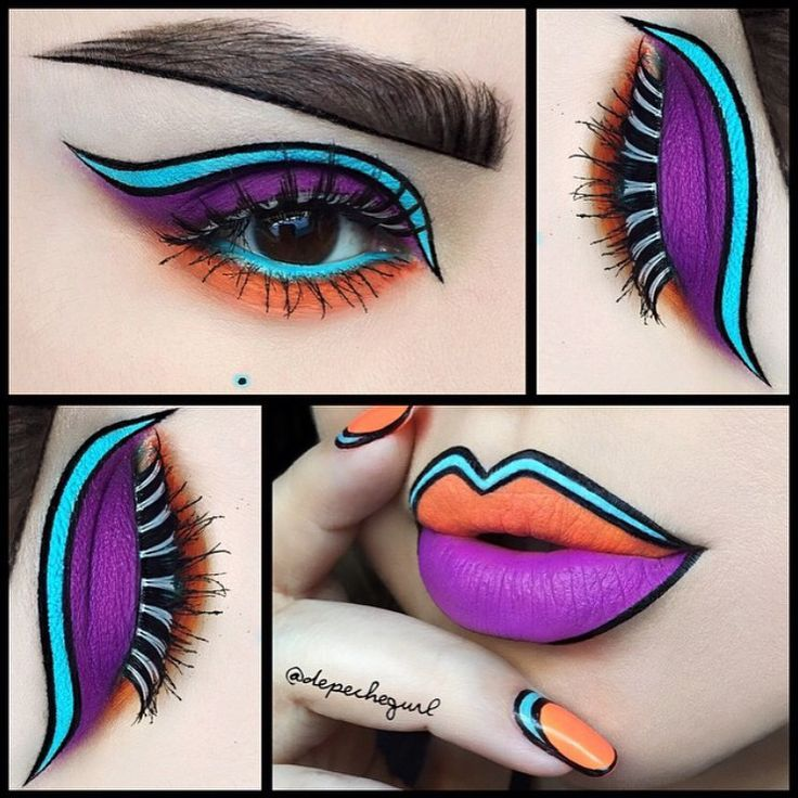 Super cool and creative pop art makeup and nails by depechegurl