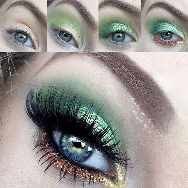 The Eyeball Queen: Saint Patricks Day Pot O' Gold Glittery Green Makeup Tuto...